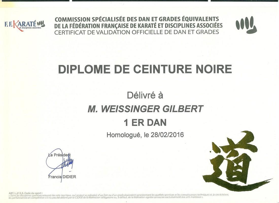 diplome gilbert 1er Dan 001